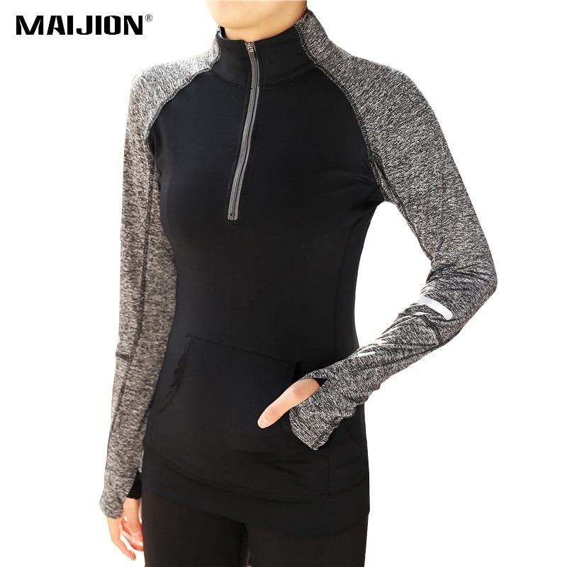 MAIJION Quick Dry Zipper Yoga Shirts, Women Elastic Long