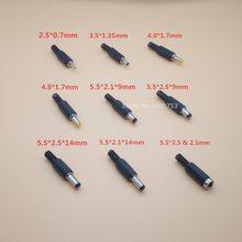 Conector jack dc macho, conector dc para macho 2.1mm / 2.5mm / 1.7mm / 1.3mm/0.7, 20 peças laptop, mm / 4.8mm / 4.0mm / 3.15mm