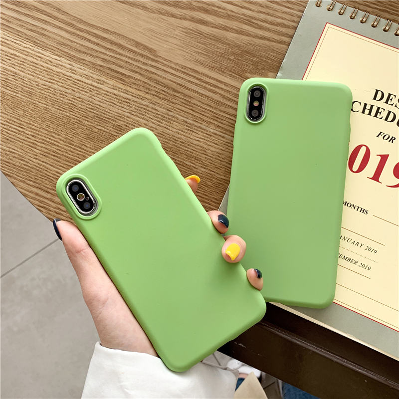 Green Color TPU Silicone <font><b>Case</b></font> For <font><b>Vivo</b></font> <font><b>Y35</b></font> Y37 Y51 Y53 Y55 Y66 Y67 Y79 Y75 Y85 V9 Y71 Y83 Y97 Y93 X21i X23 Matte <font><b>Case</b></font> cover image