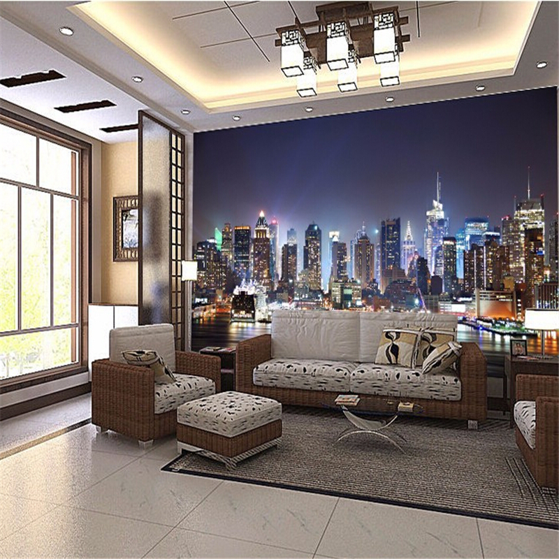 beibehang wall paper Manhattan 3d papel de paede, New York City large mural wallpaper night background scenery TV sofa bed