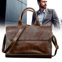 Man Retro PU Leather Handbag Large Capacity Business Travel Crossbody Bag OH66