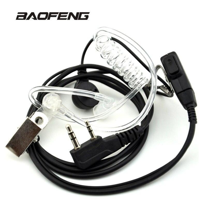 Air Acoustic Tubo Auricolare per Baofeng Walkie Talkie Radio Portatile Accessori 2 Pin PTT Auricolare Microfono per BF-UV-5R