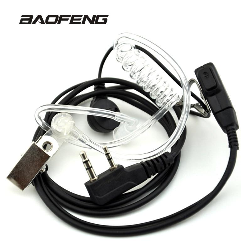 Air Tube Acoustique Écouteur pour Baofeng Talkie Walkie Portable Radio Accessoires 2 Broches PTT Casque Microphone pour BF-888S UV-5R