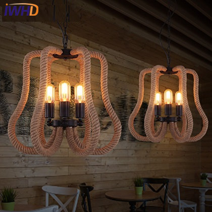 IWHD Hemp rope Loft Industrial Pendant Lights Iron Retro Vintage Lamp Living room Pendant Light Fixtures Home Lighting Hanglamp novelty volcanic stone led pendant lamp reisn hemp rope creative droplight hanglamp fixtures for home lightings cafe living room