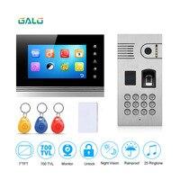 Распознавания отпечатков пальцев и RFID считыватель 7 ''Цвет видео кабель домофон ИК Ночное Видение камера одежда высшего качества