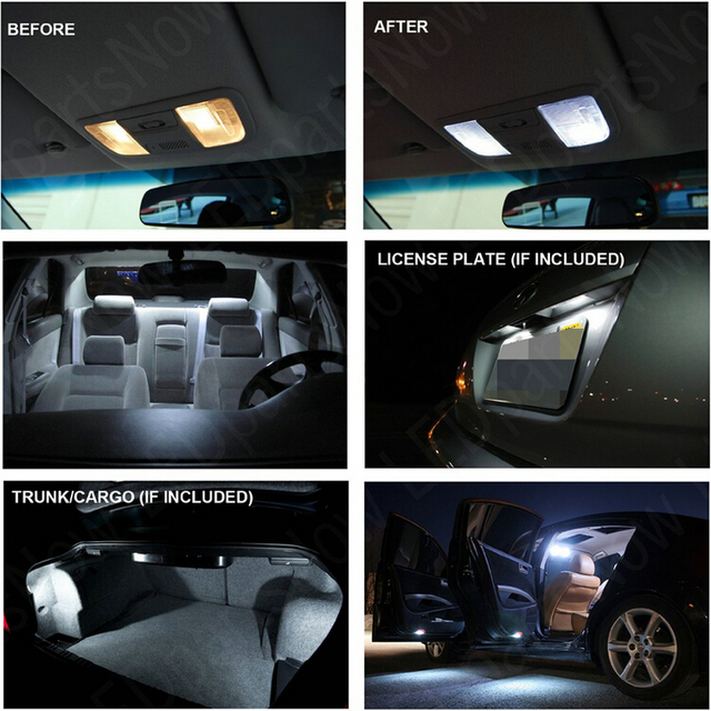 Car Led Reading Light For 2012 Chrysler 200 Dome Map trunk License plate lamp 8pc 4