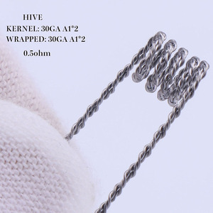 Image 3 - XFKM 50 pcs alien fused clapton tiger mix flat twisted  coils premade wrap wires  Quad hive Heating Resistance coil a1