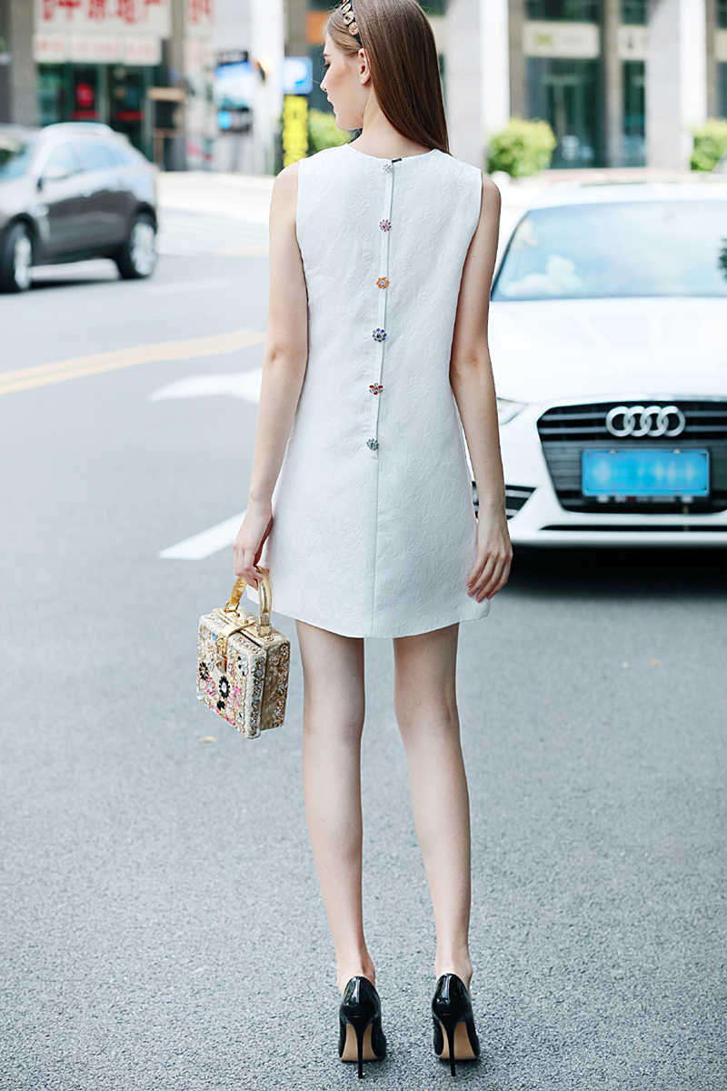 Cuerly Yüksek Kaliteli Kısa Elbise Pist Yaz Kadın Yeni Moda Parti Ofis Vintage Zarif Kedi Baskı kolsuz yelek Elbiseler