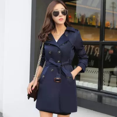 2019 Women   Trench   Coat Early Spring Womens Double-breasted Windbreakers Slim Waist Thin Plue size Long female Windbreaker Coat