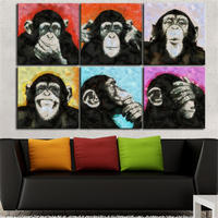 6PCS Decorative Art Print Monkey Thinking Oil Painting On Canvas Living Room Home Decor Wall Paintings