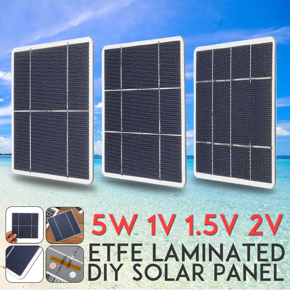 LEORY 5W 170x170mm DIY Monocrystalline Solar Panel ETFE laminated Mono Silicon Cells Photovoltaic Grade A High Efficiency image