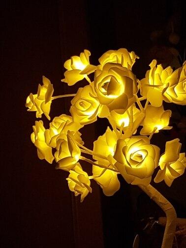 24 шт Светодиодный белое с розовыми розами цветок прикроватные Спальня ночник настольная лампа украшения дома модель дерева Рождество Свадебная вечеринка