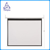 Thinyou 84Inch 16 9 Wall Ceiling Electric Motorized HD Projector Screen Matt White With Remote Control