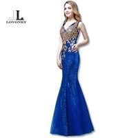 2015 New Design Evenign Dress Elegant V Neck Mermaid Sequined Appliques Long Formal Evening Dresses Gown
