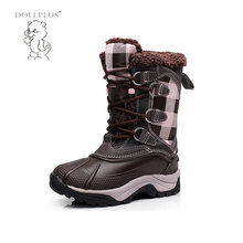Dollplus   Brown Winter Warm Girl Snow Boots Fashion Lace Boots Flat With Non-Slip Shoes For -20 Degrees