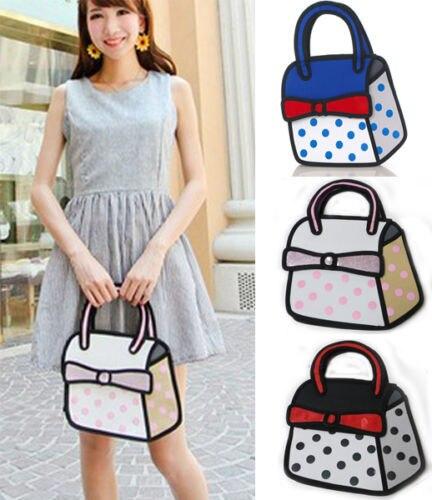Jump Style 2d Drawing From Cartoon Paper Bag Comic Cute Tote Handbags Purse
