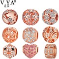 V YA Luxury Crystal Beads Charms fit for Pandora Necklaces Bracelets Women Men DIY Christmas' Jewelry Rose Gold Color Gifts