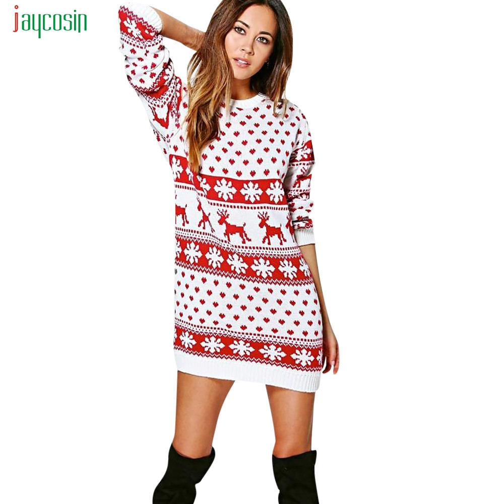 Jaycosin Women's  Christmas Print Casual Mini Dresses For Ladies Full Sleeve Casual Dress Round Neck Vestidos De Festa New