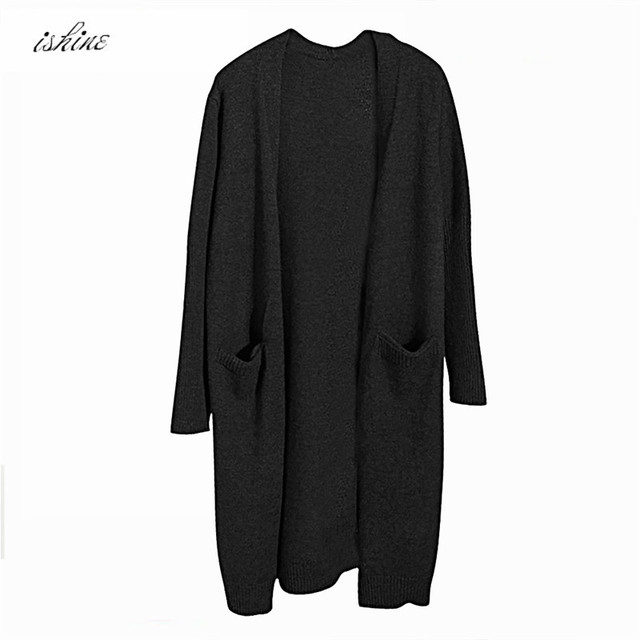 Black Autumn Winter Fashion Women Long Sleeve loose knitting Cardigan  Sweater Womens Knitted Female Cardigan Pull fd1eaa1b2
