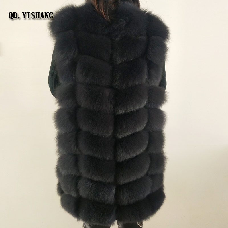 kaki Col Renard Gray Fourrure De Color Nouveau dark 2018 Naturel black Dames Hiver Veste Chaud Gilet Rond Qd natural Yishang Mh tqIHw4pw