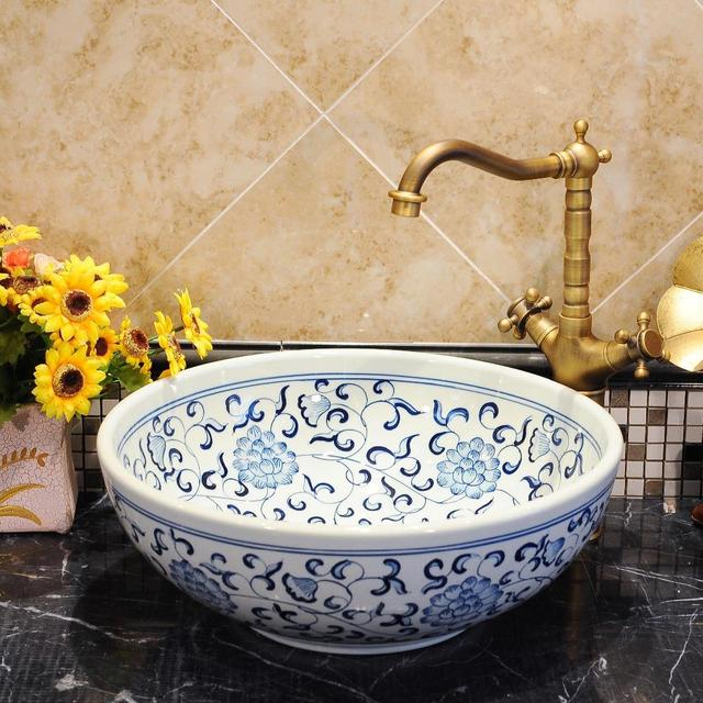Blue And White Chinese Antique Ceramic Sink Wash Basin Ceramic Counter Top Wash  Basin Bathroom Sinks
