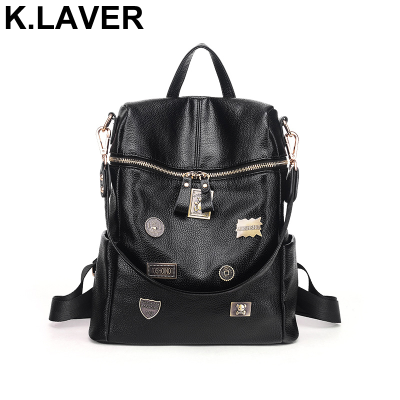 New Women Genuine Leather Backpacks Teenage Cowhide Shoulder Bag Female Travel School Bags Ladies Backpack Girls Mochila Bookbag zency genuine leather backpacks female girls women backpack top layer cowhide school bag gray black pink purple black color