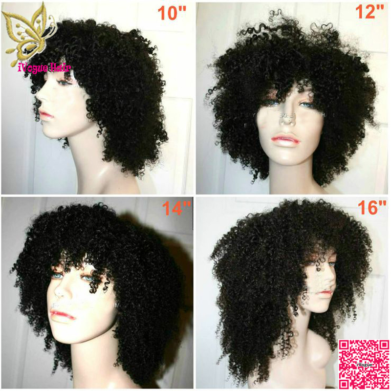 Short Afro Curly Full Lace Human Hair Wigs With Baby Hair