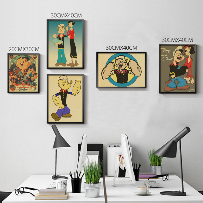Vintage Popeye the sailor man retro Poster Retro art Wall home Decoration ...