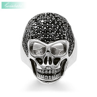 Striking Style Ring Skull 2016 Brand New Arrival High Quality 925 Sterling Silver Ziconia Pave Fashion