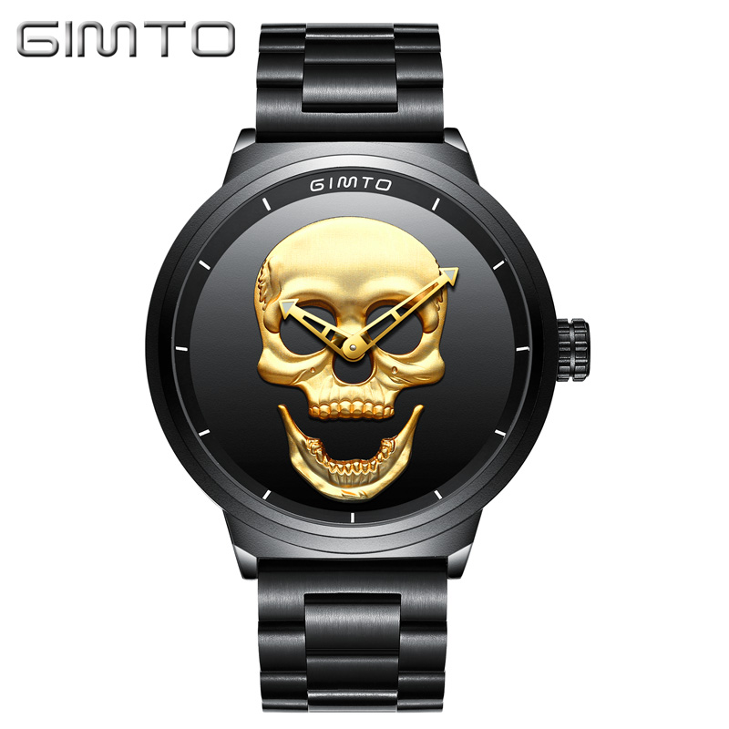 Watch GIMTO Male Unique Design Skull Watches Men Luxury Brand Sports Quartz Military Steel Wrist Watch Men relogio masculino oulm casual leather sports watches men luxury brand unique designer military watch male quartz wrist watch relojes deportivos