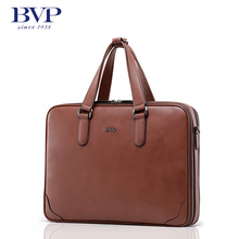 BVP Classic Genuine Leather Briefcase Me Business Solid Zipper Bags High Quality Messenger 14inch Laptop Office Brown Bag T1014