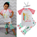 3pcs! 1-6y baby girl summer set girls letter she believed she could so she did t-shirt+pants+hair band suit