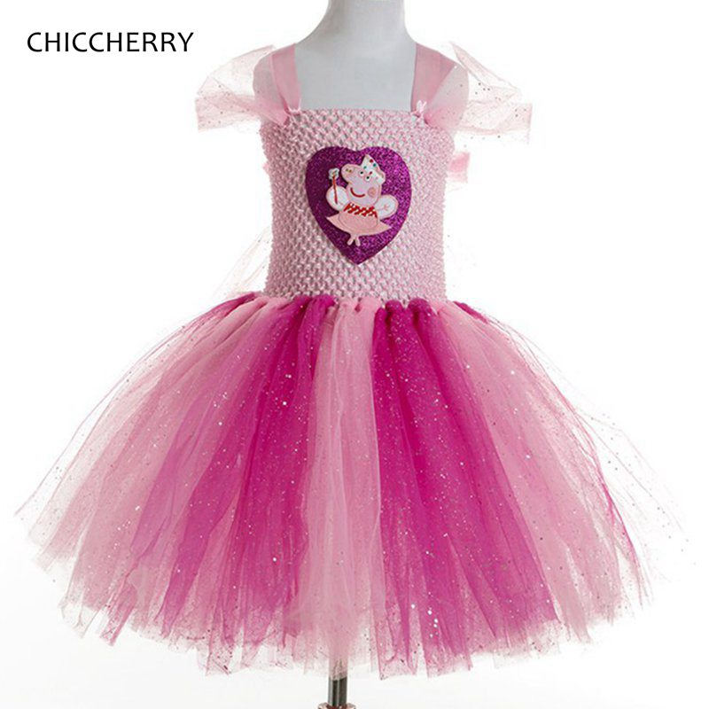Pink Toddler Girl Birthday Outfits Pig Kids Party Tutu Dress Princess Lace Dress Vestidos De Verano Summer Children Costumes crown princess 1 year girl birthday dress headband infant lace tutu set toddler party outfits vestido cotton baby girl clothes