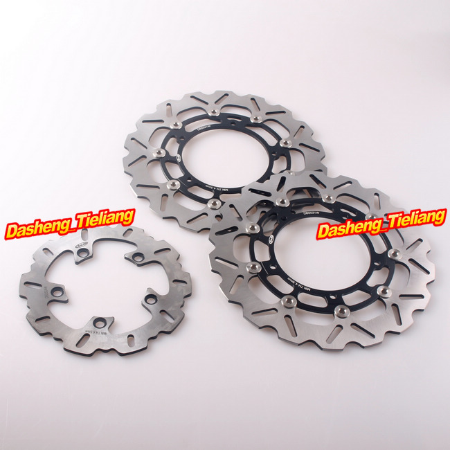 Motorcycle Front Rear Brake Disk Rotors Set For YAMAHA YZF 1000 R1 2007-2011 & YZF 600 R6 2005-2015 Stainless Steel + Aluminum brand front brake disc rotors for yamaha 2007 2011 yzf r1