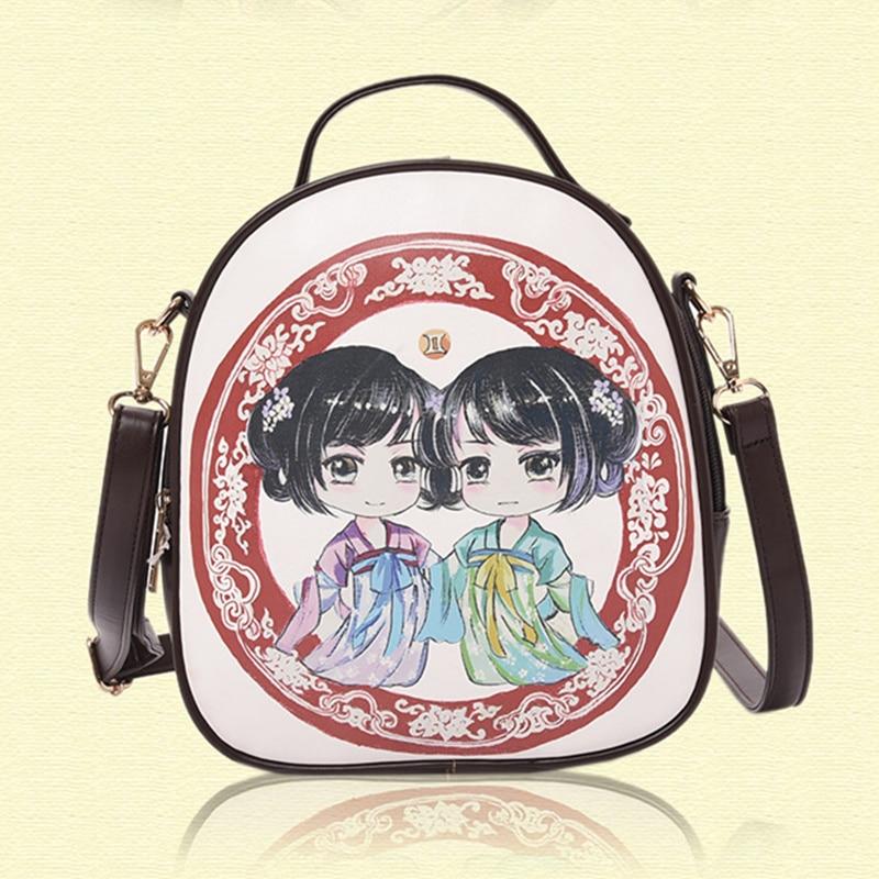 National Wind Gemini Constellations Zodiac Sign Twins Women Backpacks Schoolbag Practical Travel Shoulder Bag Crossbody робот zodiac ov3400
