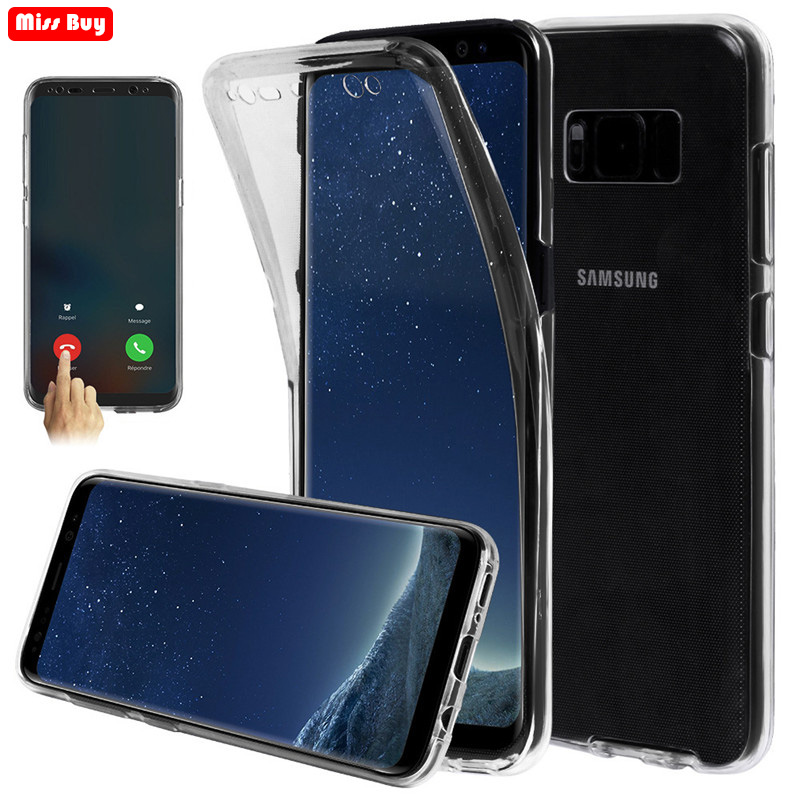 360 Full Body Cover Soft Transparent Case For Samsung Galaxy S10 J4 J6 Plus J8 <font><b>A72018</b></font> A10 A30 A40 A50 A60 Two Crystal Case Coque image