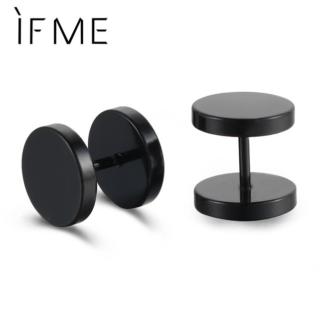 If Me 2017 Fashion S Steampunk Black Stainless Steel Stud Earrings Man Jewelry Cool Push