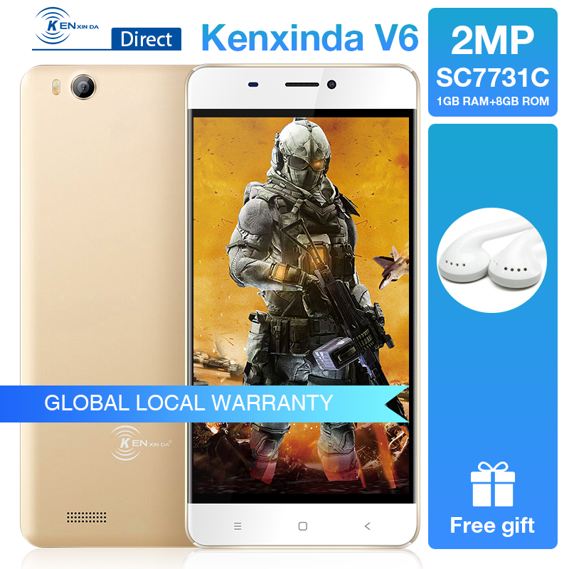 "Kenxinda V6 3G 4.5"" Smartphone Android 7.0 1GB Ram 8GB Rom Quad Core 1700mAh Battery Dual Sim Cards Mobile Phone Gray/Gold Color"