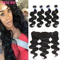Malaysian Virgin Hair with Frontal Closure Malaysian Body Wave 4 Bundles with Ear to Ear Frontal Closure 13x4 Derun Hair Styles