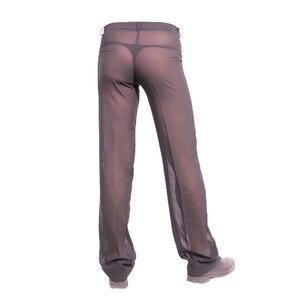 Image 5 - ผู้ชายเซ็กซี่ชีฟอง Sheer ดูผ่านหลวม Fit กางเกงขาตรงชุดนอน Breathable Sleep Bottoms Man ความยาวเต็มกางเกง