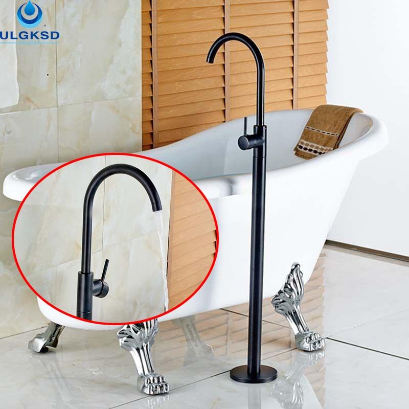 Ulgksd Wholesale and Retail Black Brass Bathtub Tub Faucet Tub Filler Single Handle Bathroom Faucet Mixer Tap цена и фото