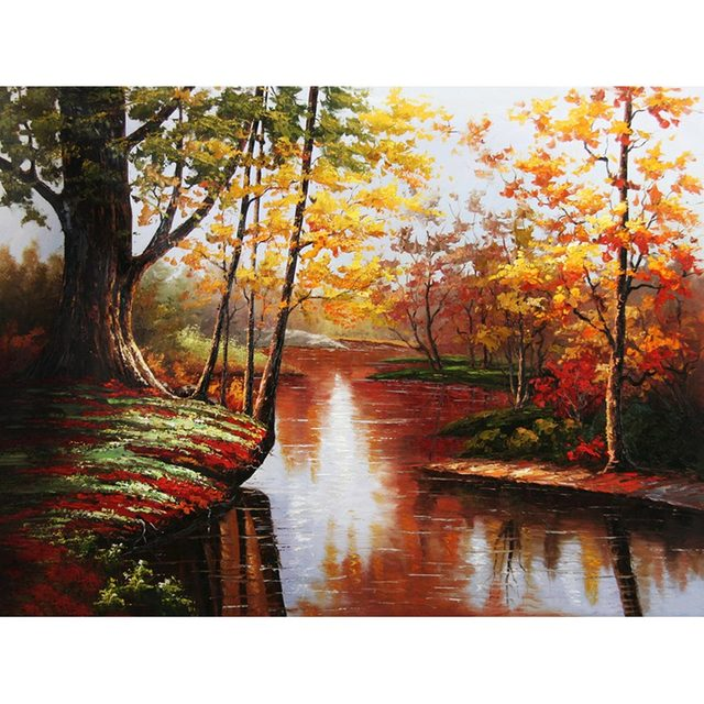 Landscape DIY Painting By Numbers No Frame Drawing Kits Paint On Canvas Unique For Home Wall Art Picture Hand Painted