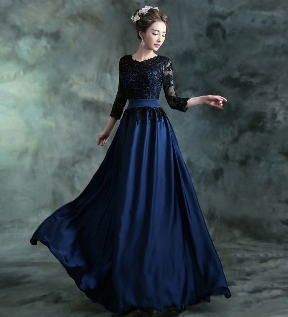 Black and Navy Blue Bridesmaid Dresses Long 2017 Lace 3/4 Sleeves ...
