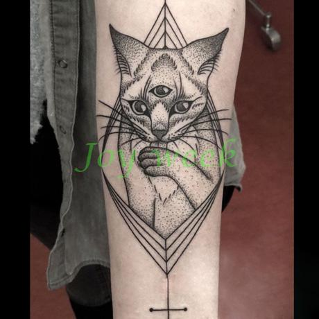 Waterproof Temporary Tattoo Sticker large size three eyes cat totem tatto stickers flash tatoo fake tattoos for men women 2