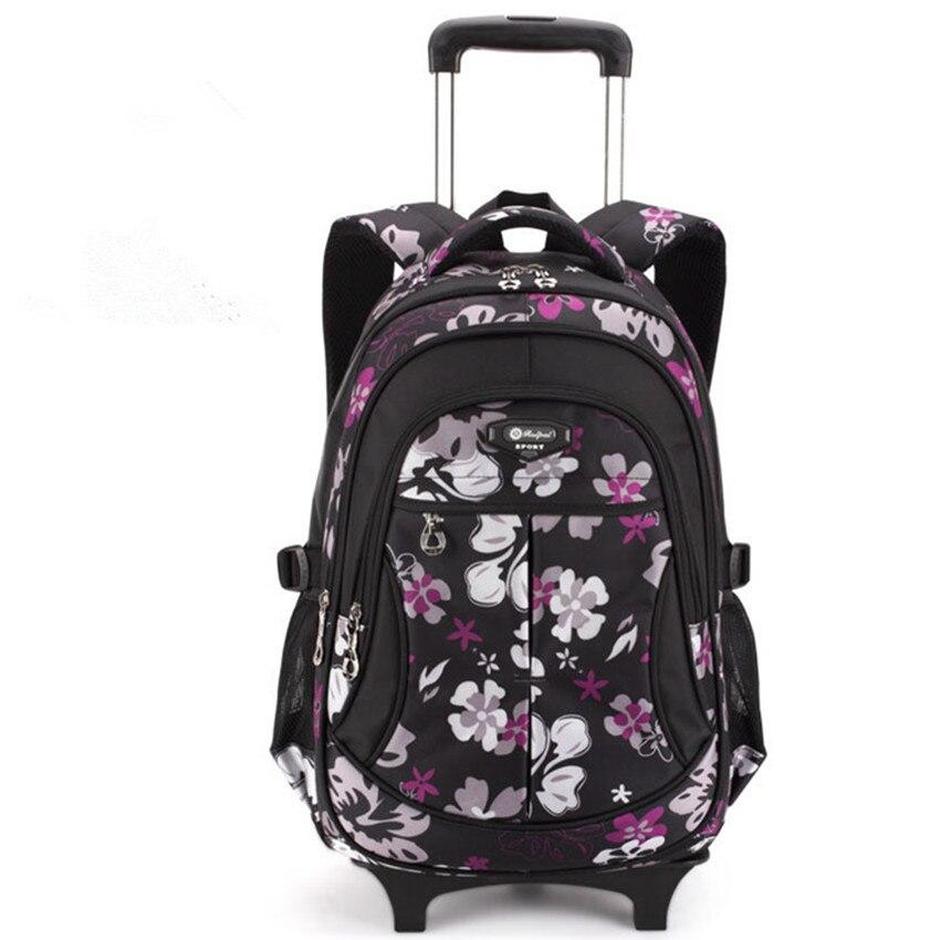Waterproof Children Trolley School Bag Backpack Wheeled School Bag For Grils Kids Wheel Schoolbag Student Backpacks