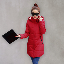 Women s jackets winter Solid Color Thickening Hooded coat Female Slim Fashion black red and blue