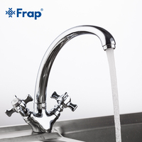 1 Set High Quality Solid Brass Kitchen Faucet Double Handle Torneira Cold And Hot Water Mixer