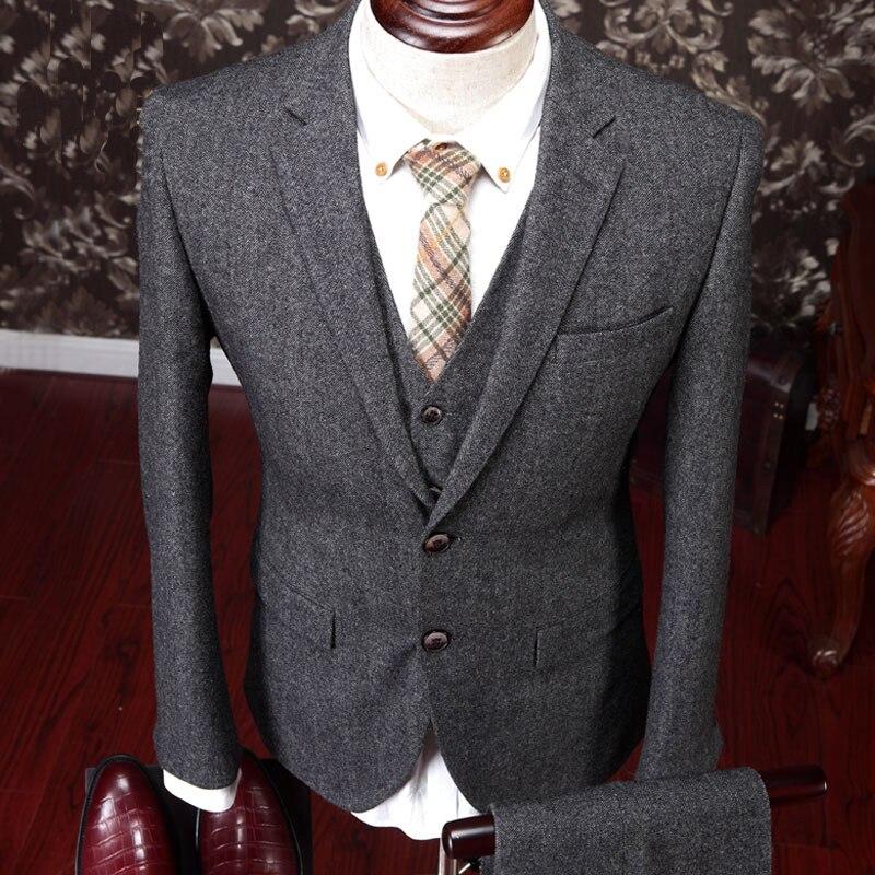 Trajes de lana para hombre de alta calidad Traje masculino de 3 - Ropa de hombre - foto 3