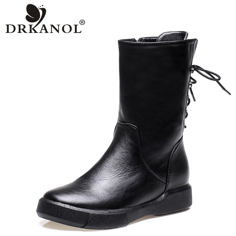 Office & School Supplies Rational Drkanol 2018 Autumn Winter Motorcycle Boots Vintage Pu Leather Flat Mid Calf Women Boots Female Cross Tied Fur Snow Boots H6092