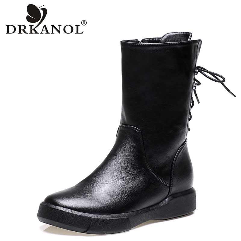 DRKANOL 2019 sonbahar kış motosiklet botları Vintage PU deri düz orta buzağı kadın çizmeler kadın çapraz bağlı kürk kar botları h6092